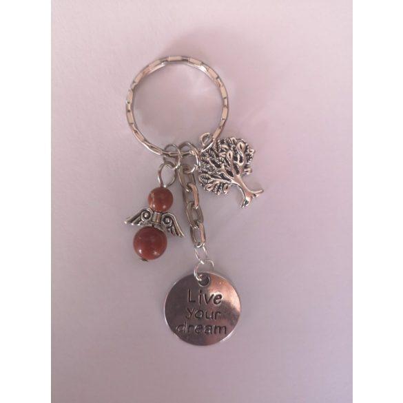 Ezüst vörös jáspis angyalka fa és medáll táskadísz
