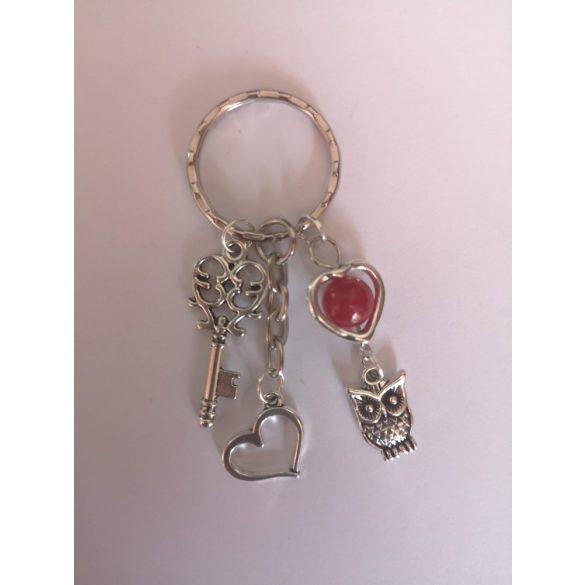 Ezüst piros jáde kő dísz, kulcs és bagoly táskadísz