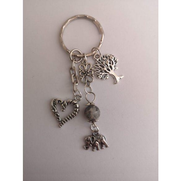 Ezüst szürke képjáspis elefánt dísz, fa és szív táskadísz