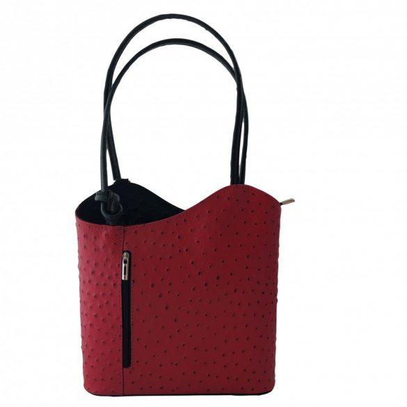 """""""Violet"""" piros és fekete strucc mintás Olasz bőr női válltáska"""