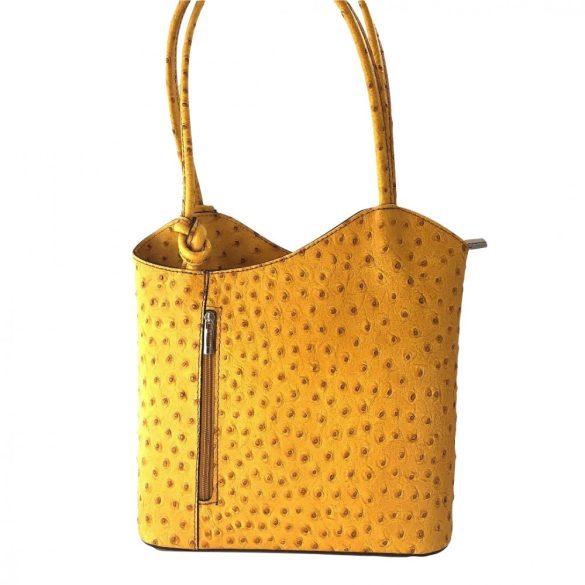 """""""Violet"""" sárga strucc mintás Olasz bőr női válltáska"""