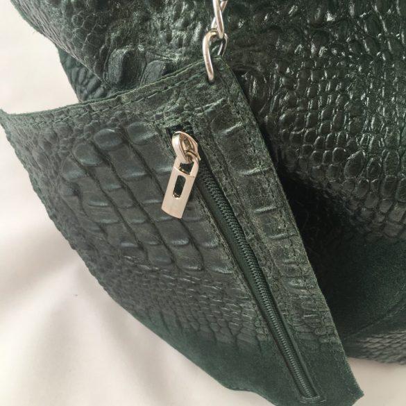 """""""Ysabel"""" sötétzöld Olasz hasított bőr krokodil mintás női válltáska"""
