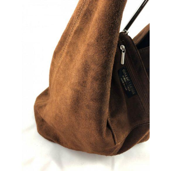 """""""Leora"""" barna Olasz velúr bőr női shopper táska"""