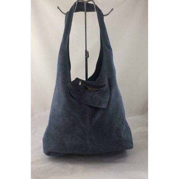 """""""Leora"""" farmerkék Olasz velúr bőr női shopper táska"""