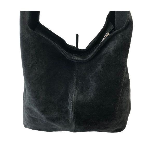 """""""Leora"""" fekete Olasz velúr bőr női zipzáras shopper táska"""