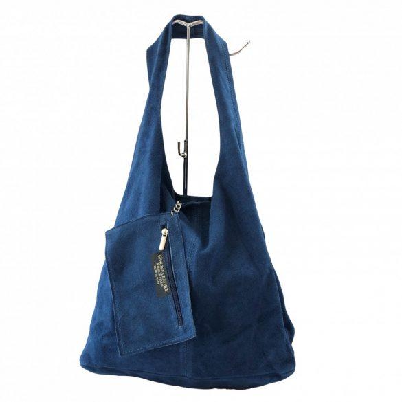 """""""Leora"""" kék Olasz velúr bőr női shopper táska"""