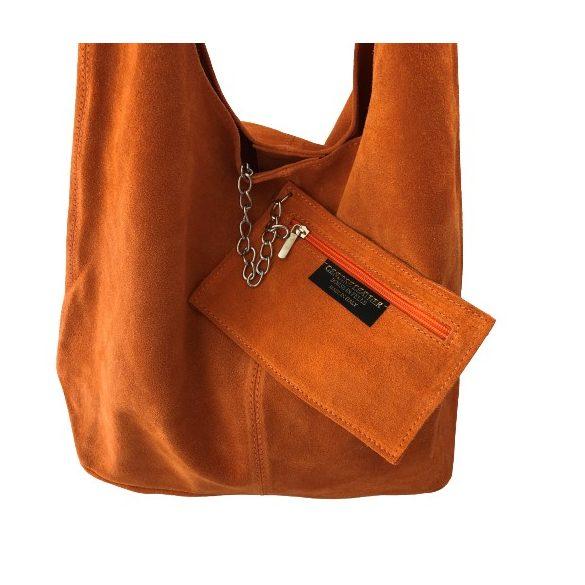 """""""Leora"""" narancs Olasz velúr bőr női shopper táska"""