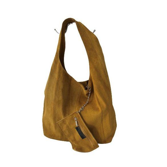 """""""Leora"""" okkersárga Olasz velúr bőr női shopper táska"""