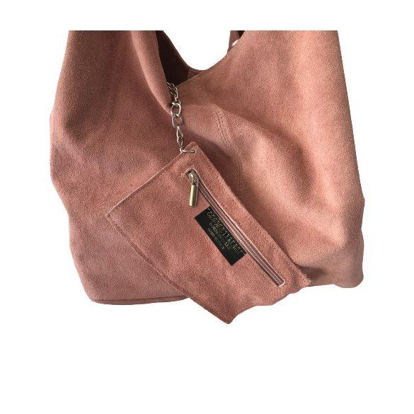 """""""Leora"""" púder rózsaszín Olasz velúr bőr női shopper táska"""