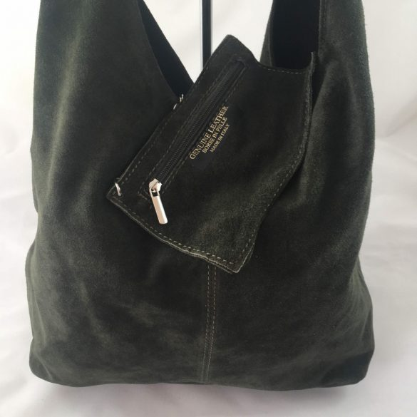 """""""Leora"""" sötétzöld Olasz velúr bőr női shopper táska"""