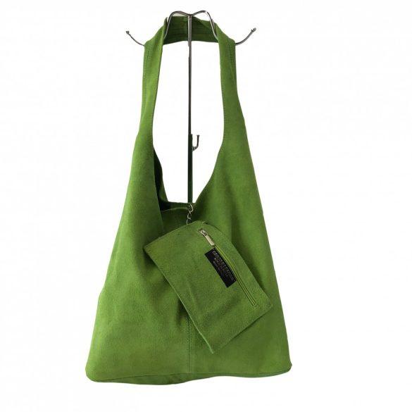 """""""Leora"""" világos zöld Olasz velúr bőr női shopper táska"""