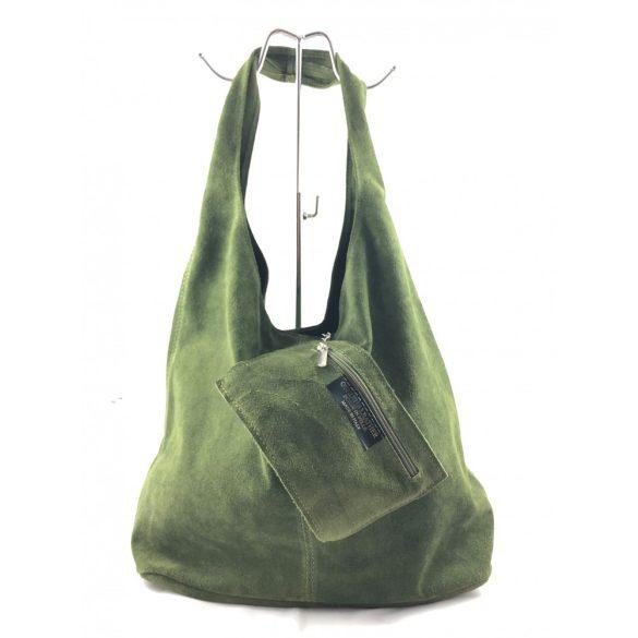 """""""Leora"""" zöld Olasz velúr bőr női shopper táska"""