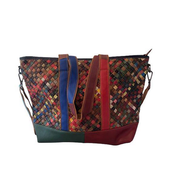 """""""Francesca"""" Cara színes patchwork Olasz bőr női nagy válltáska"""