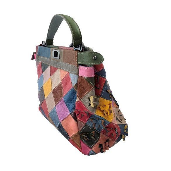"""""""Francesca"""" színes patchwork pillangós Olasz bőr női válltáska"""