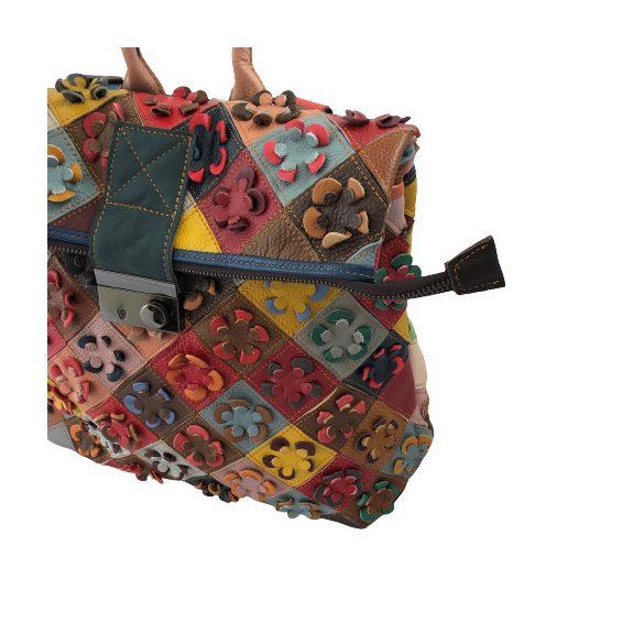 """""""Francesca"""" színes patchwork virágos Olasz bőr női hátitáska"""