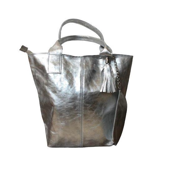 """""""Penelop"""" ezüst Olasz bőr női shopper táska"""