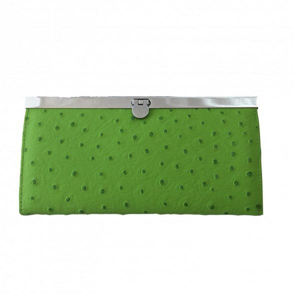 """""""Violet"""" zöld strucc mintás Olasz bőr női pénztárca"""