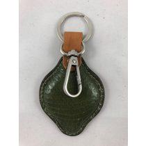 Zöld kígyóbőr mintázatú Olasz bőr táskadísz-kulcstartó