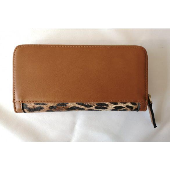 """""""Megan"""" barna leopárd mintás NOBO rostbőr női pénztárca"""