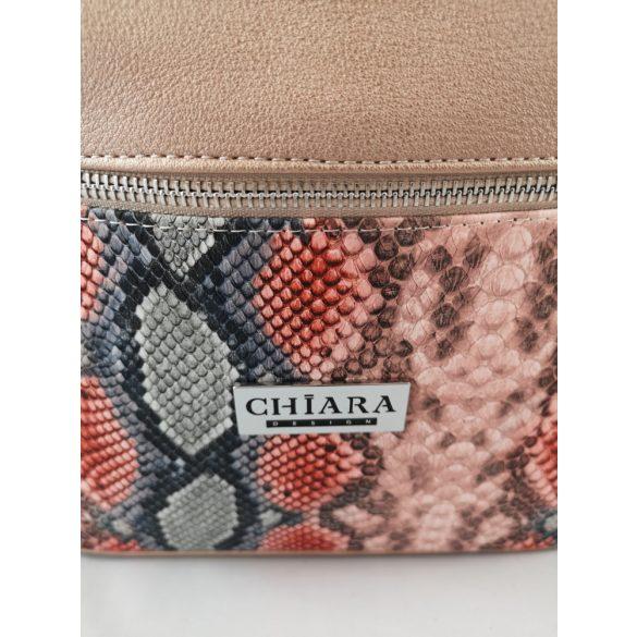 NIA rosé és színes piton mintás Chiara női rostbőr válltáska
